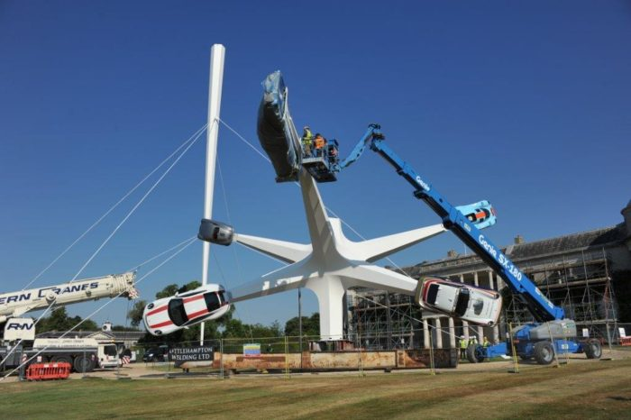 Installation of Goodwood Porsche sculpture engineered by Diales